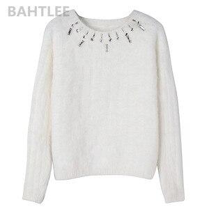 Image 5 - BAHTLEE, Осень зима, женский джемпер из ангоры, вязаные полосатые пуловеры с длинным рукавом, свитер, теплый, ручная работа, бриллиантовый белый