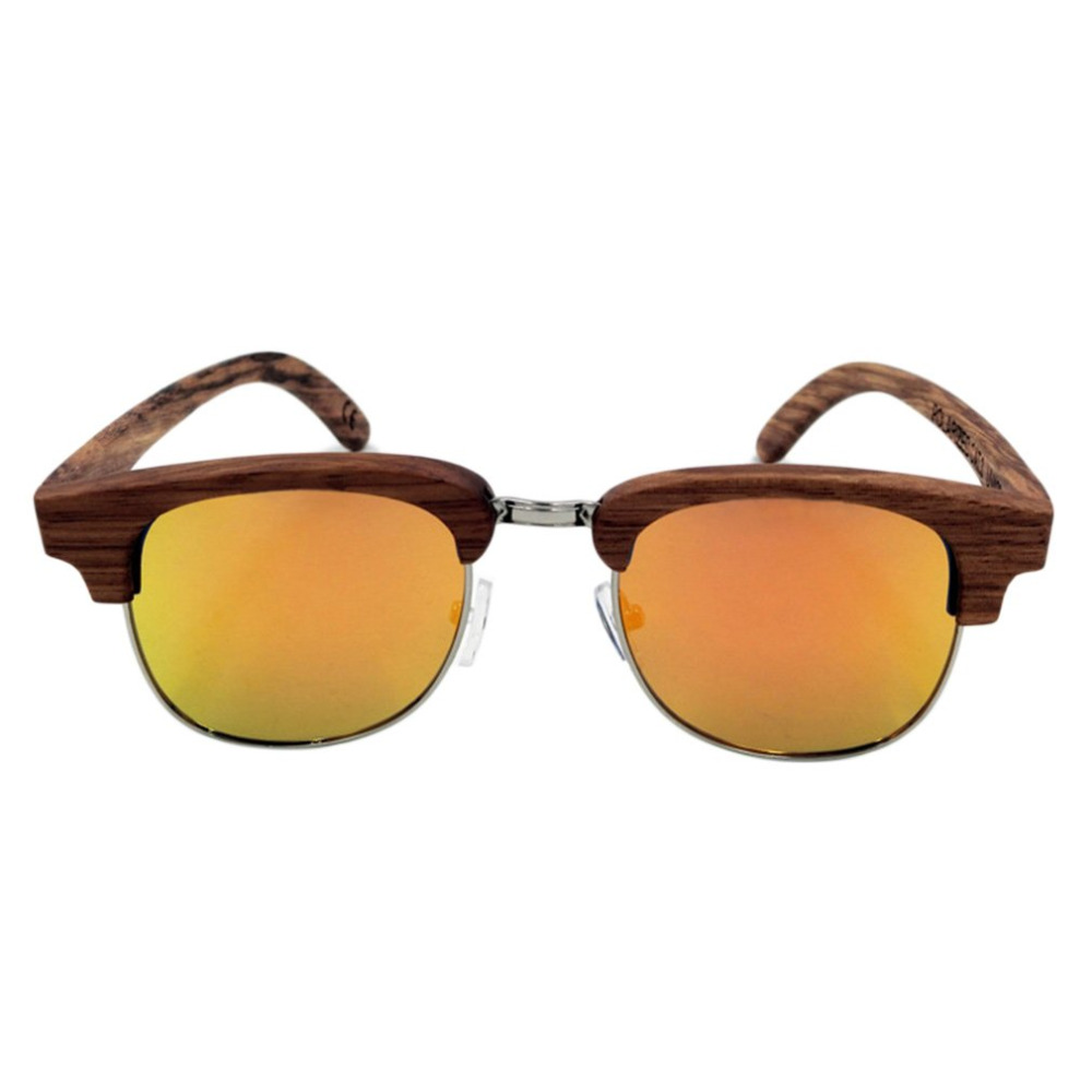 Unisex Wooden Leg Zebrawood Frame Half-rimless Glasses Polarized Sunglasses Men Oculos De Sol with gray/brown/orange Accessories