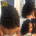 Класс 7А Перуанский Девственные Волосы Глубоко Фигурные Волны Короткие Вьющиеся Переплетения реального Перуанской Глубокая Волна Волос Натуральный Черный # 1B 8 ''До 28'' благодать