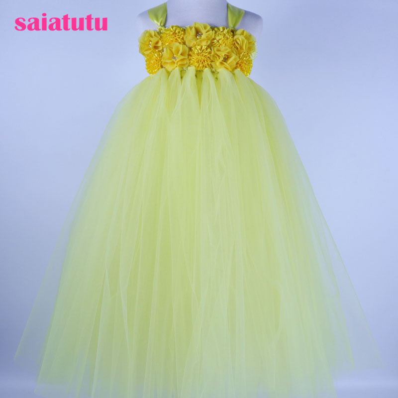 tutu yellow Girls Dress Mesh crystal Children Wedding Party Dresses Kids Evening Ball Gowns Formal Baby Frocks Clothes for Girl