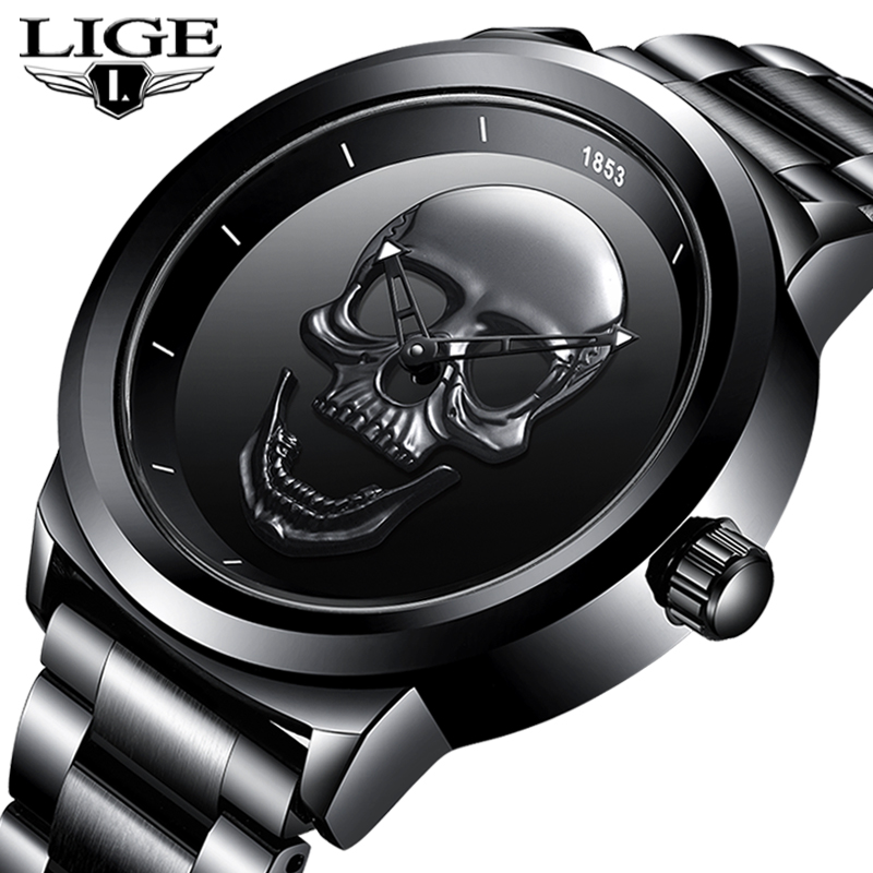 2020 New LIGE Men Watch Top Brand Casual 3D Skull Full Steel Waterproof Military Sports Male Quartz WristWatch Relogio Masculino