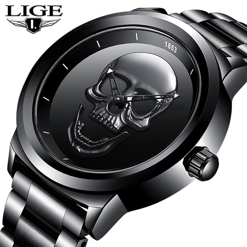 2020 New LIGE Men Watch Top Brand Casual 3D Skull Full Steel Waterproof Military Sports Male Quartz WristWatch Relogio Masculino