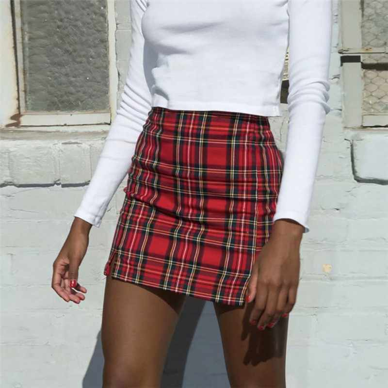2019 skirts womens Fashion Woven Plaid Print Mini Skirt Ladies High Waist Slit Bodycon Pencil Skirt