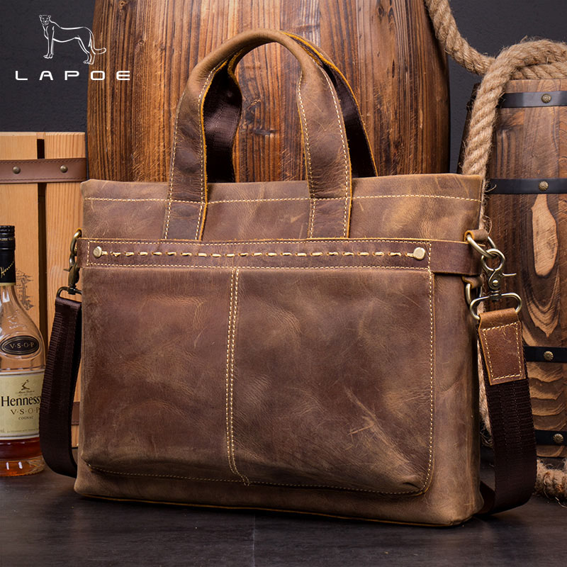 LAPOE Genuine Leather Men bag Briefcase Leather Briefcase 15