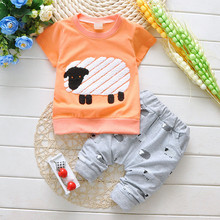 Summer baby kids clothes lovely sheep pattern top pants 2 pcs baby cotton clothing sports comfortable