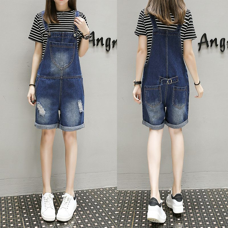 Cute Style 5xl Big size jeans shorts Jumpsuit wide leg straps denim shorts Casual Pocket Jean Overalls Ripped Denim Romper 3162