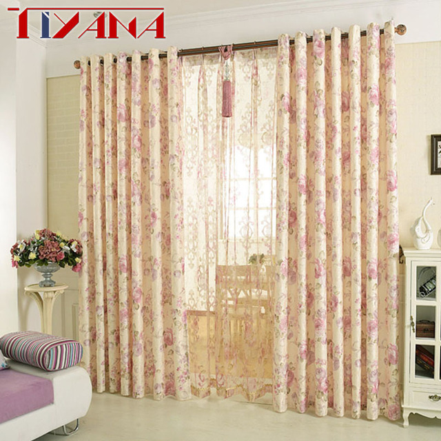 Finished Cotton Curtains For Living Room Semi Blackout Pink Flower Design Bedroom Curtain Fabric