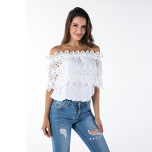 Tops Slash Neck Styling Chiffon White Stitching Lace T-shirt Popular Euro-America Women Casual 2019 Fashionable Tee S-4XL