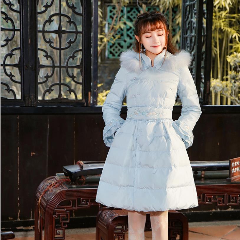 Doux style broderie cloche manches doudounes femme renard fourrure col blanc canard vers le bas manteaux hiver nouvelle marque vêtements d'extérieur gx1656