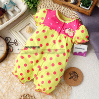 2015 Bebe New Summer Baby Rompers Girl Polka Bee Dot Newborn Romper Short Sleeve One Piece