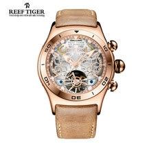 Arrecife Tigre/RT Sport Reloj De Los Hombres Esqueleto Reloj Luminoso Fecha Mes Año Día de Oro Rosa Relojes Automáticos RGA703