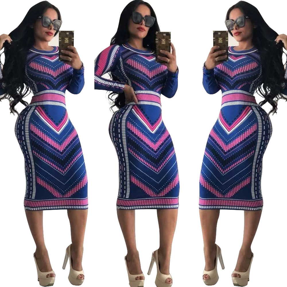 Women <font><b>Dresses</b></font> Autumn Long Sleeve <font><b>2018</b></font> Geometric Print Vintage <font><b>Dress</b></font> Robe <font><b>Sexy</b></font> Slim <font><b>Bodycon</b></font> Sheath Midi Package Hip <font><b>Dress</b></font> Vestido image