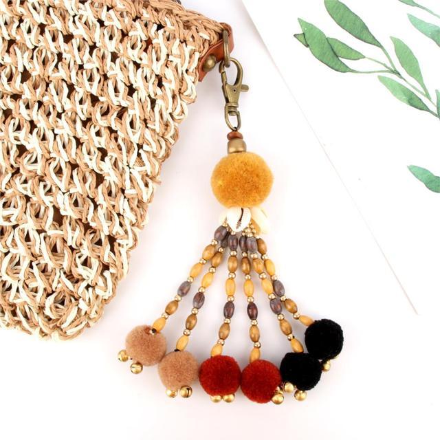 1Pc styl Boho lato muszla plażowa brelok kolorowy pompon brelok dla kobiet torba wisząca drewniany koralik akcesoria
