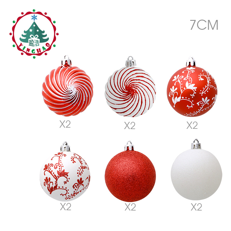 inhoo 2018 new christmas tree decoration 7cm ball ornaments pendant accessories red white ball decor for christmas home party in ball ornaments from home