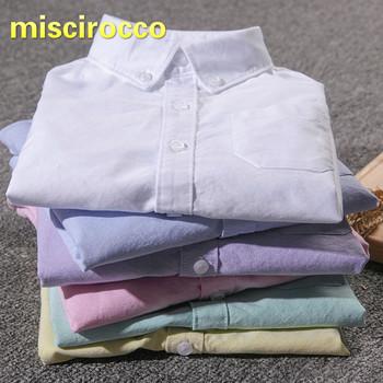 Chłopięca koszula dziecięca bawełniana koszula 3-8 lat chłopięca koszula z długim rękawem dziecięce koszulki chłopięce tanie i dobre opinie miscirocco Na co dzień COTTON Oxford Koszule Chłopcy Pełna Stałe REGULAR Skręcić w dół kołnierz Pasuje prawda na wymiar weź swój normalny rozmiar