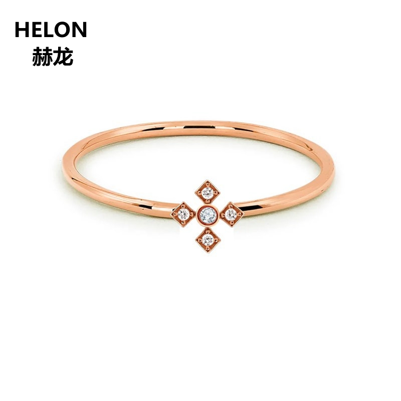 Solid 14k Rose Gold Natural Diamonds Engagement Ring for Women Anniversary Wedding Band Fine Jewelry ClassicSolid 14k Rose Gold Natural Diamonds Engagement Ring for Women Anniversary Wedding Band Fine Jewelry Classic