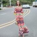 2017 diseñador runway nueva primavera verano palabra de longitud dress de las mujeres botón de diamantes de alta calidad rose imprimir bohemia maxi dress
