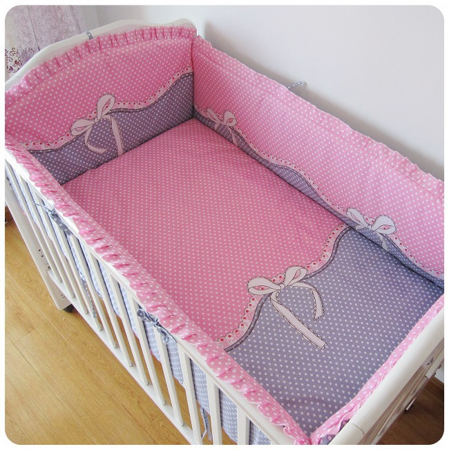 Promotion! 6PCS Pink Bow Kids Sheet and Bumpers for Crib/Cot,Baby Crib Bedding Set on Sale (bumper+sheet+pillow cover) promotion 6pcs pink appliqued girl baby cot crib bedding set bumpers sheet pillow cover