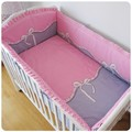 Promotion! 6PCS Pink Bow Kids Sheet and Bumpers for Crib/Cot,Baby Crib Bedding Set on Sale (bumper+sheet+pillow cover)