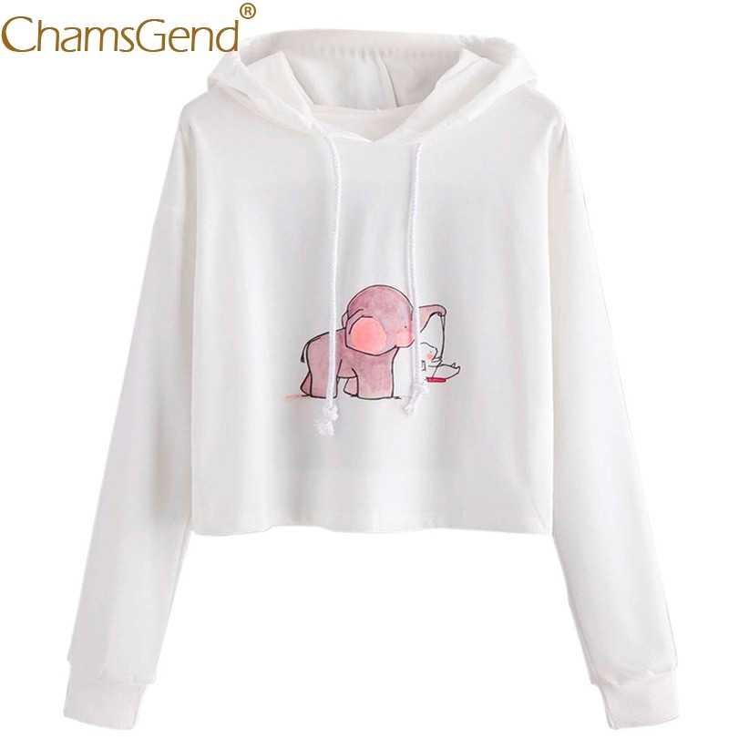 1f4a7193aa24b4 ... Chamsgend Hoodies Women Sweatshirts Elephant Rabbit Cartoon White Cap  Shirt Crop Top White Pullover Hoody Sweatshirt ...
