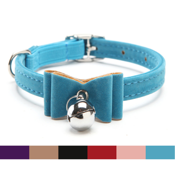 Cat Collar Baby Puppies Dog Safety Elastic belt  Adjustable with Jingle bell and butterfly Soft velvet material S 1