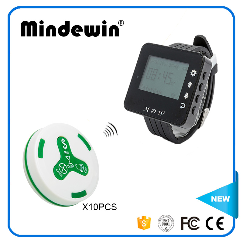 Mindewin Wireless Restaurant Paging System 10PCS Waiter Call Button M-K-4 and 1PCS Receiver Wrist Watch Pager M-W-1 Service Bell hot selling restaurant wireless waiter buzzer call button system 1 display 2 black watch pager 30 black table call bells