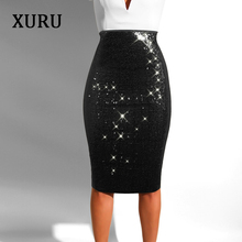 XURU 2019 spring new womens sequined skirt sexy nightclub sequins slim bag hip with lined bottoms