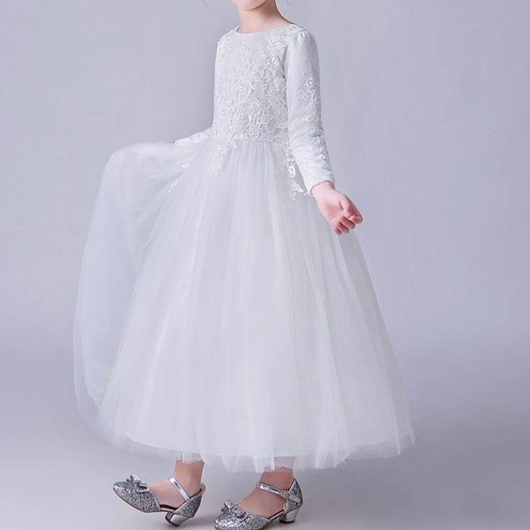 Kualitas tinggi Gadis Bunga Gaun Putih Sederhana Panjang Gadis - Pakaian anak anak