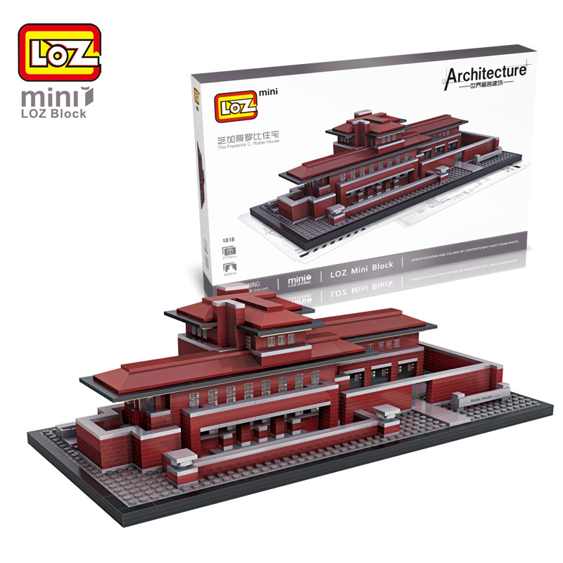 New Arrivals LOZ 3D Mini Building Blocks Toy Robie House Model DIY Nano Bricks Assemble Toys Children Learning & Education Toys loz architecture space shuttle mini diamond nano building blocks toys loz space shuttle diy bricks action figure children toys