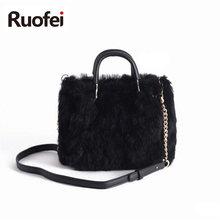2019New Fashion Design Leather Fur Soft Real Women Handbag  Pieces Female Shoulder Bag Girls Messenger Casual