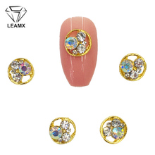 LEAMX 10pcs 3D Round Metal Rhinestone Nail Art Jewelry Glass Nails Decorations 7mm Gems DIY Manicure Diamond Charms L502