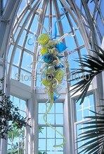 Premium European Sitting Room Light Hand Blown Glass Spiral glass and balls Crystal Chandelier