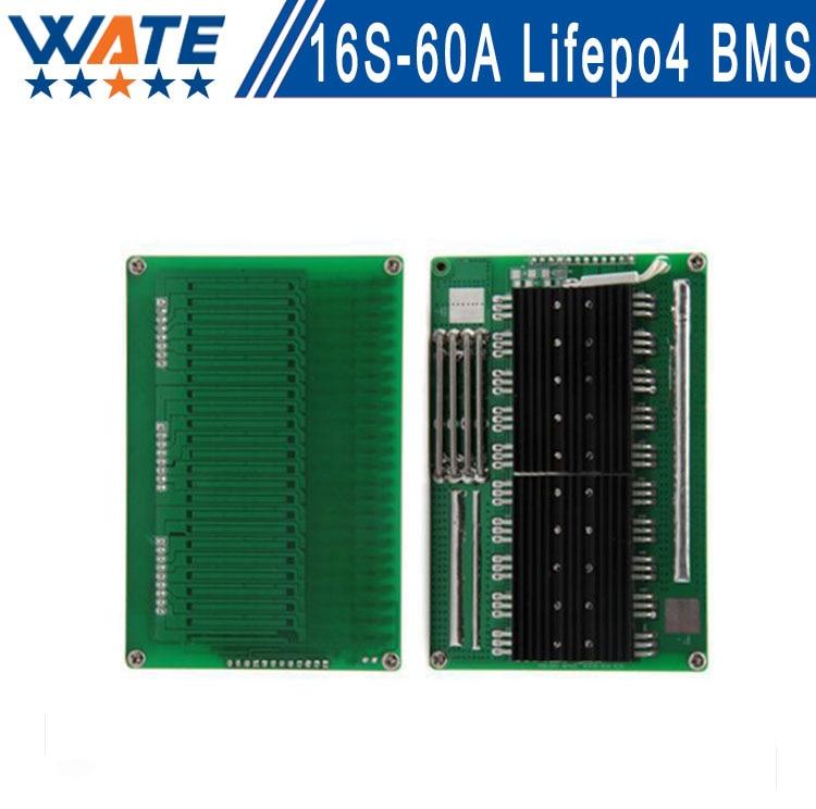 ФОТО Brand BMS 16s 48V LiFepo4 48v battery pack large current 60A smart protection board circuit peak 60A for 48v bms 51.2v 58.4v