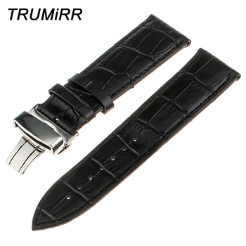 Butterfly Buckle Watchband 22mm for Vector Luna Meridian Genuine Leather Watch Band Smartwatch Strap Bracelet Men Women + Tools