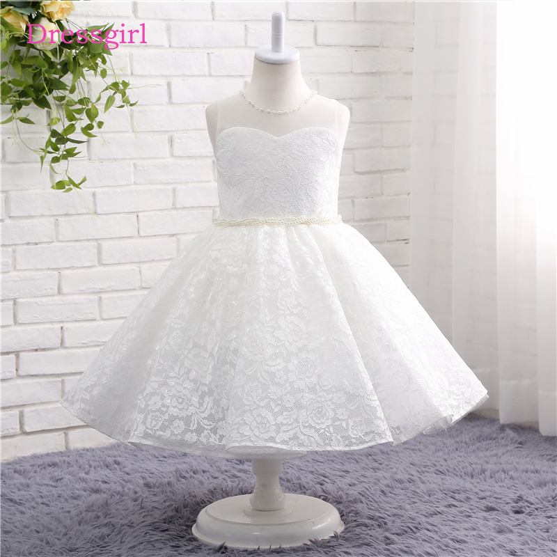 Ivory 2019   Flower     Girl     Dresses   For Weddings A-line Scoop Lace Pearls First Communion   Dresses   For Little   Girls
