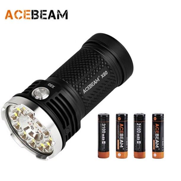 Nueva acebeam X80 12x cree XHP50.2 25000 lúmenes 6000 K LED linterna (incluyendo 4 unids acebeam baterías)