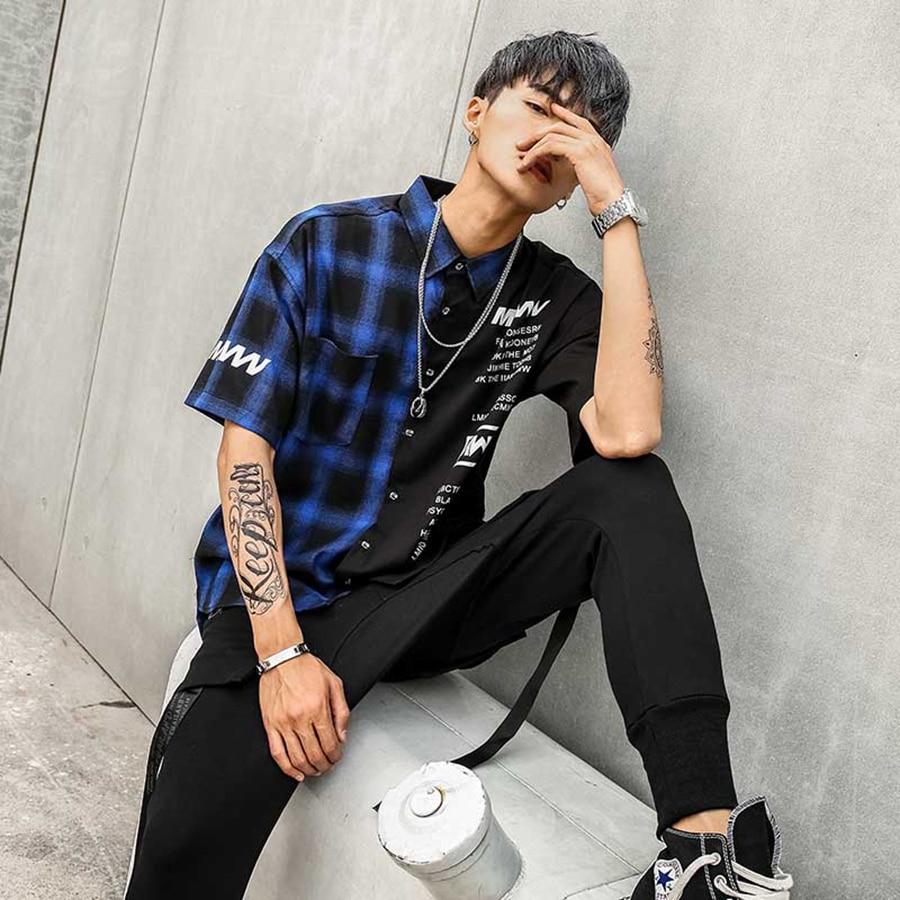 Korean Oversized Shirt Men Summer Short Sleeve Checkered Hip Hop Printed Patterned Shirts Men Vintage Batik Streetwear Cd606