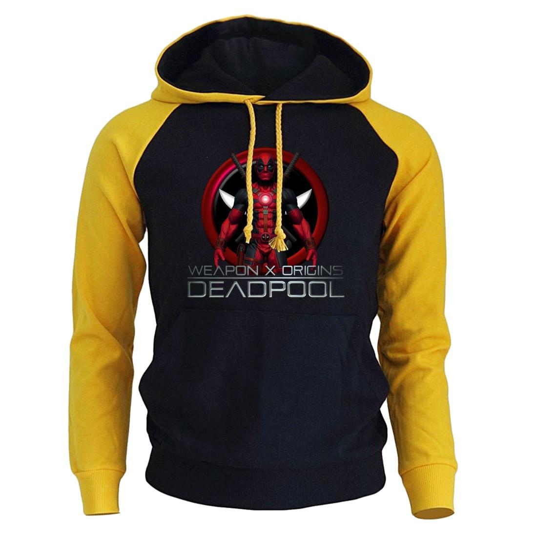 2019 New Fashion Raglan Sweatshirt For Men Spring Hooded Hoodies Print DEADPOOL Super Hero Men's Sweatshirts Harajuku Hoodie Top