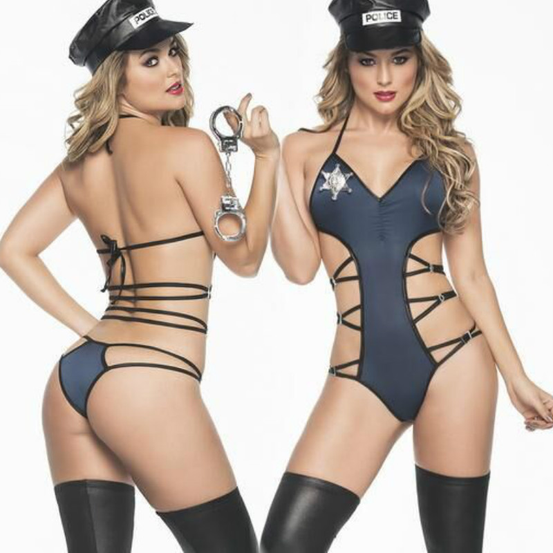 CFYH 2018 New Sexy Policewoman Cosplay Costumes Conjoined Clothing Female Police Cosplay Uniform Sexy Cop Halloween Costumes
