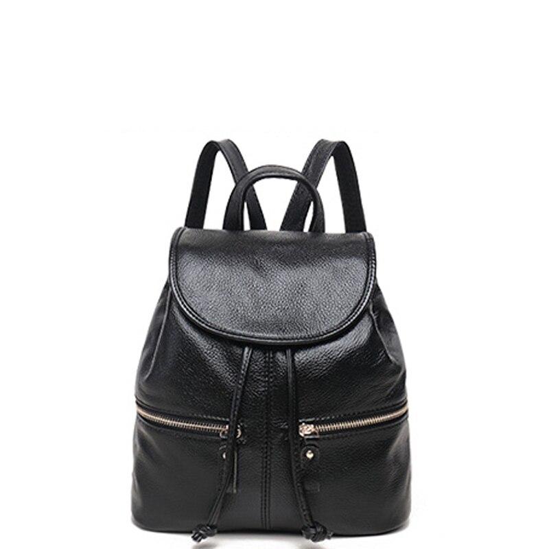 High Quality Backpack Women 100% Genuine Leather Mochila School Bag For Teenagers Girls Backpacks Fashion Both shoulders