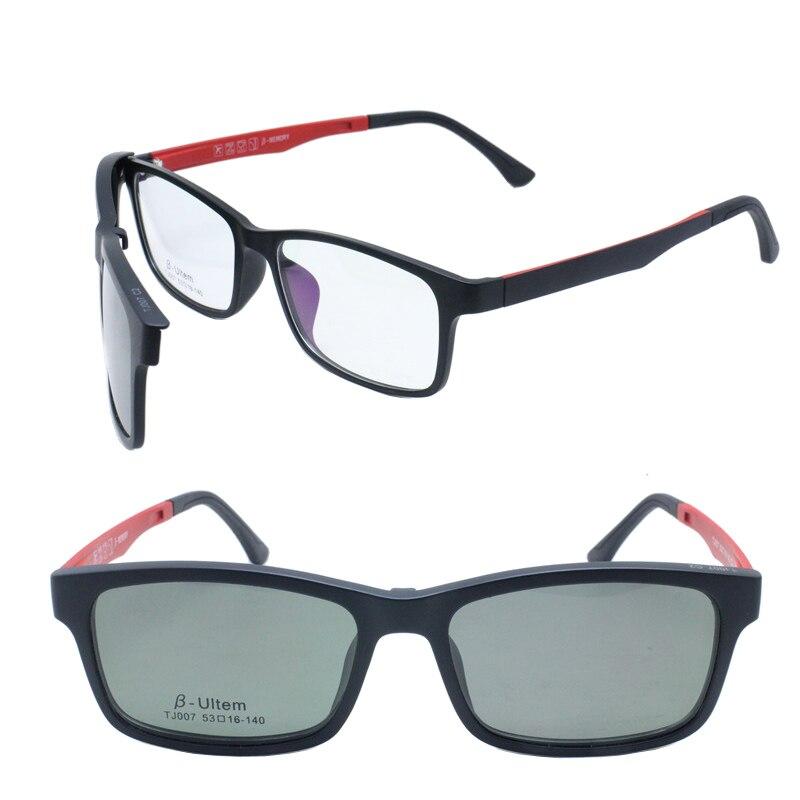 007 Ultra Leichte Ultem Rechteck Brillen Mit Handliche Megnatic Clip Auf Abnehmbare Polarisierte Sonnenbrille Linsen Männer