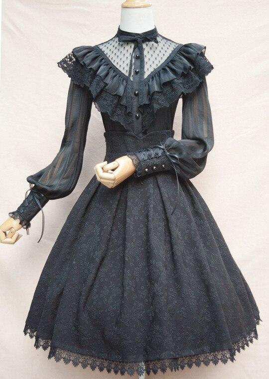 Chemisier en mousseline de soie Royal Vintage Illusion cou femmes Blouse gothique transparente à manches longues lanterne avec volants - 5