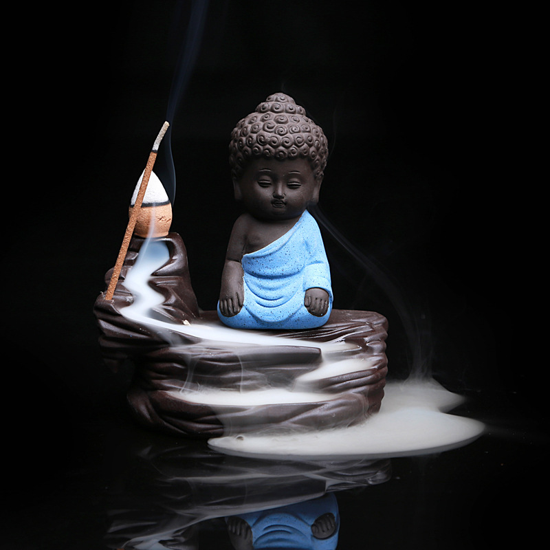 Creative Home Decor The Little Monk Censer Small Buddha Burner Backflow Stick Incense Burner Purple Clay Censer Home Decoration