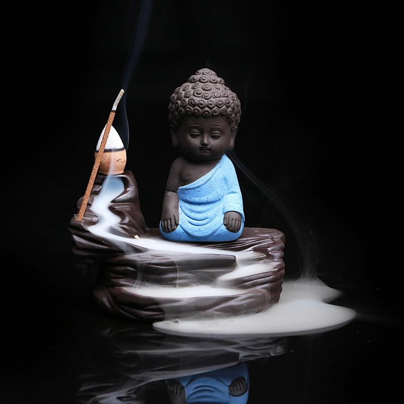 Kreative Wohnkultur Die Wenig Mönch Räuchergefäß Kleine Buddha Brenner Rückfluss Stick Duftbrenner Lila Ton Räuchergefäß Dekoration