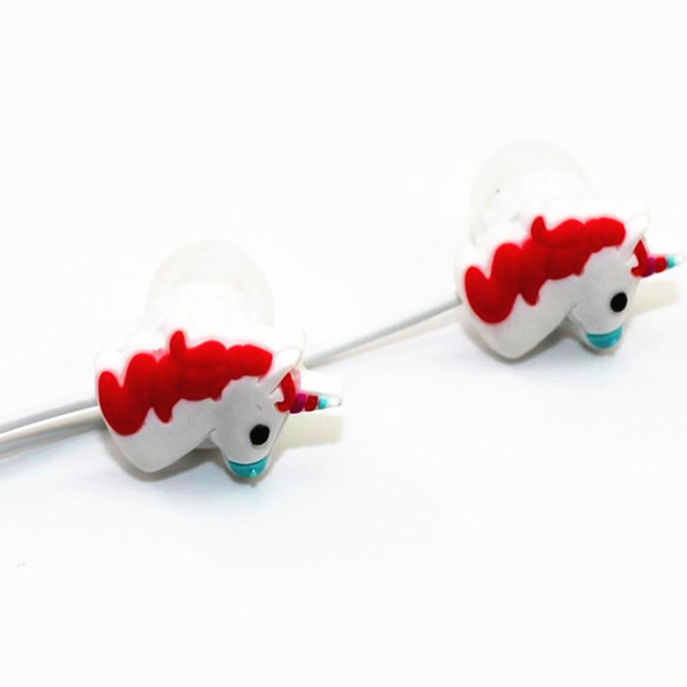 Cute Unicorns Cartoon Earphones Red Rainbow Horse In-ear Earphone 3.5mm Earbuds With Mic For Xiaomi Smartphone Kids Gifts самокат novatrack rainbow 120 red складной 120rainbow rd7