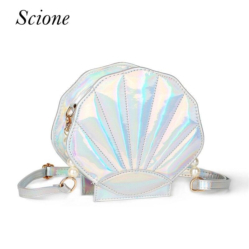 Прекрасный Лазерная Лолита Сумочка кожа женщины сумка в форме морской раковины девочек школы Crossbody сумка кошелек Bolsas 130251