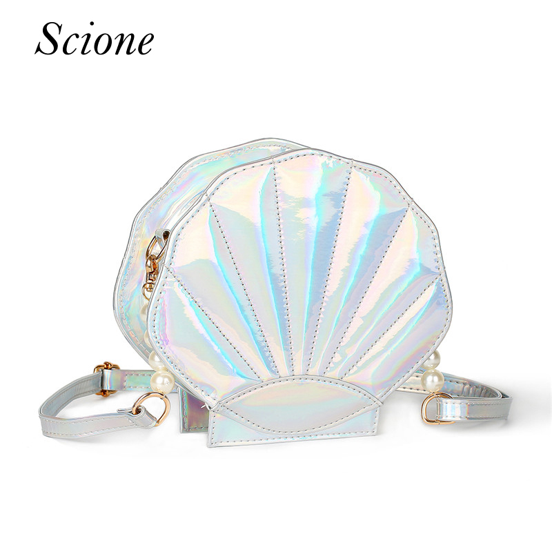 Lovely Laser Lolita Handbag Leather Women Shoulder Bag Sea Shell Shaped Girls School Messenger Crossbody Bag Purse Bolsas 130251 2015 new arrival color match leather lolita bag novelty shaped shoulder bag piano key handbag with embroidery and badge