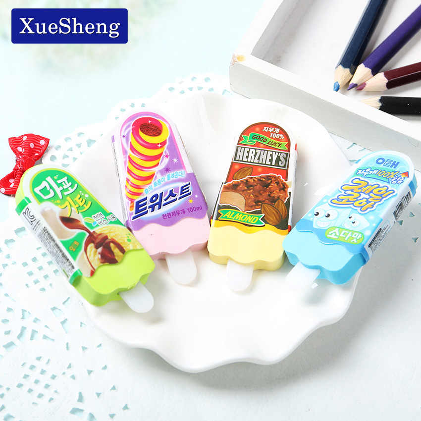 High Quality Kawaii Eraser Ice Cream Eraser Stationery Kid Gift Toy School Supplies Random Color