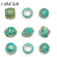 50 Pcs Lot Metal Vintage Green And Gold Tube Bead Tibetan Silver Spacer Beads For Bracelet