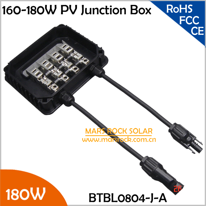 2pcs/Lot 160-180W Solar Power Junction Box, 3 Diodes (10A), MC4 Connector, 90cm Cable, IP65 Waterproof,Electrical Connector 180W 140w 200w solar junction box waterproof ip65 for solar panel connect pv junction box solar cable connection with diode